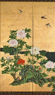 Detail. Birds and Flowers of Spring and Summer. Edo period (latter half of 17th century). Kano Eino Pair of six-fold Japanese screens. 春夏花鳥図屏風 狩野永納筆. Suntory Museum of Art.