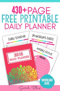 Free Planner Printables: 2019 Daily Planner,Grab this free printable daily planner and get your whole year organized! Organize your schedule as well as your household with this printable planner. Goals Planner, Blog Planner, Planner Pages, Daily Planner Printable, Free Planner, Printable Calendars, Monthly Planner, Happy Planner, Planner Organization