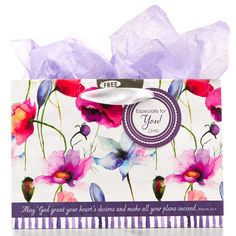 """Gift Bag, Small Horizontal Seeds of Love  May God Grant Your Heart's Desires Purple Psalm 20:4  Gift bag for any occasion with May God grant your heart's desires and make all your plans succeed. Psalm 20:4. Satin ribbon handles with gift tag that says Especially for you!; includes 1 sheet of tissue paper; 9"""" x 6.25"""" x 4"""".  Size: 23 x 10 x 16 cm  PRICE: R30 per Bag."""