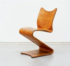Verner Panton; #275 'S' Bent Plywood Chair for Thonet, 1958.