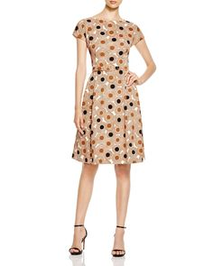 Anne Klein Printed Twill Fit and Flare Dress | Bloomingdale's