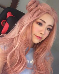 Pastel Rose Gold Hair Lace Front Wigs for Women, Halloween Cosplay Wigs, Pink Wave Fashion Wig 24 in Long Heat Resistant Mermaid Wig – Ash - Perm Hair Styles Rose Pink Hair, Light Pink Hair, Light Curls, Peach Hair, Pink Wig, Girl With Pink Hair, Pink Hair Dye, Ombre Rose, Gray Hair