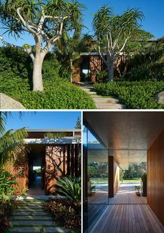 This modern house has lush landscaping with a path that leads to the front door and adds to the overall curb appeal of the home. New Modern House, Modern House Design, Residential Landscaping, Backyard Landscaping, Landscaping Ideas, Sunrise Home, Sea Container Homes, Tropical Houses, Building Design