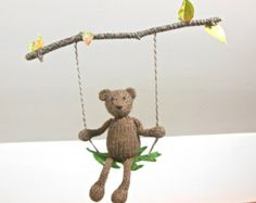 Bear on a Swing, Brown Bear Branch Mobile with Autumn Leaves, Woodland Mobile for Boy or Girl, Tree Branch, Rustic Nursery, Natural Fibers