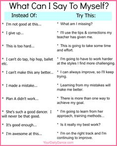 What Can I Say To Myself?  Printable for dancers.