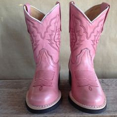 Texas Gold Minors Pink Round Toe Kids Cowboy Boots