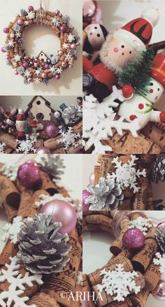 cork wine decoration, christmas theme, christmas and wine, handmade, corks ideas, lillac, red and white christmas