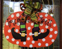 Pumpkin Door Hanger  Hand Painted Wooden  MADE to ORDER