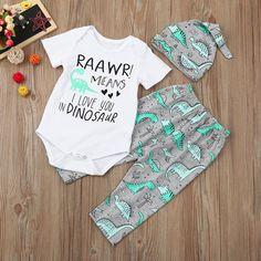 Rawr Means I Love You In Dinosaur Onesie Pants Hat #shopsmall #boutique #shopaholic & YJM 3Pcs/Set Newborn Baby Girl Boy Arrow Tops Shirts+Tent Pants ...