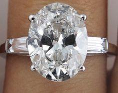 GIA 3.44ct Estate Vintage Oval Diamond Engagement Wedding 14k White Gold Ring