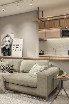 Apartamento de 80m² projetado para jovem solteira! Por @arq092.arquitetura em Manaus, AM. Gostou? Siga-nos no Instagram e fique por dentro de nossos projetos! #arquitetura #decoração #saladeestar #interiores #interiordesign #escandinavo #estiloindustrial #cozinhadecorada #living #livingroom #metrotiles #projeto #arquiteto #decor #instagram #apartamentodecorado Condo Living, Home Living Room, Living Room Decor, Rental Decorating, Interior Decorating, Interior Design, Small Apartments, Small Spaces, Sala Grande