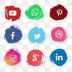 Watercolor social media icon set PNG and Vector Black Social Media Icons, Social Icons, Social Media Logos, Youtube Banner Backgrounds, Youtube Banners, Social Media Buttons, Social Media Banner, Brush Vector, Vector Vector