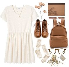 a white dress with boots and brown accessories. I love this cute and vintage outfit!