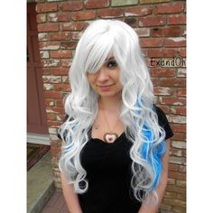 On White Blue Long Curly Layered Wig Emo Wig Aqua Scene Wig Aqua... ($111) ❤ liked on Polyvore featuring beauty products, haircare, hair styling tools, bath & beauty, grey, hair care and curly hair care