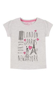 Primark - Grey Pink Cities T-Shirt ss16