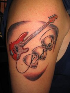 Rest in Peace Dad Tattoos | red jazz bass 100 Tattoo Ideas You Should Check Before Getting Inked