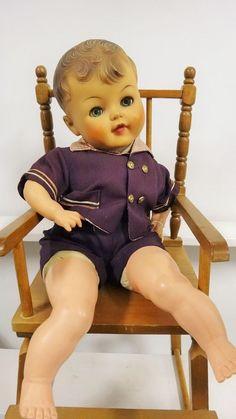 What a cute doll. Old Dolls, Antique Dolls, Vintage Dolls, Child Doll, Boy Doll, Toddler Dolls, Victorian Toys, Baby Alive, Creepy Dolls