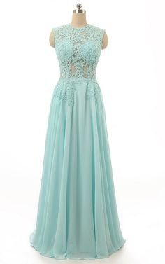Green Scoop Neck Chiffon Floor Length Appliques Lace Sleeveless Long Prom Dress
