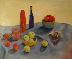 Apples, Grapes and Vases on Blue Cloth by Leon Sarantos | Artfinder