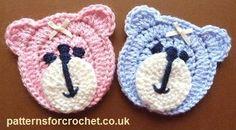 La cara del oso de peluche patrón de crochet libre apliques EE.UU.