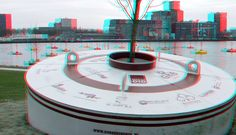 https://flic.kr/p/F1P3om | Bobbing forest Rijnhaven Rotterdam 3D | anaglyph stereo red/cyan Floating Forest Dobberend Bos bobbing forest