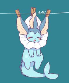=_= blue blue_background blush closed_eyes clothes_pin clothesline drooling full_body hanging looking_at_viewer no_humans pokemon pokemon_(creature) simple_background sleeping solo vaporeon Pokemon Fan Art, Pokemon Life, Anime Pokemon, Pokemon Eeveelutions, Eevee Evolutions, Pokemon Go, Anime Plus, Anime W, Kawaii Anime