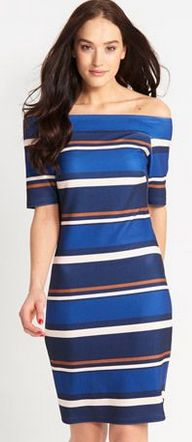 Bold stripe on trend off the shoulder Bodycon dress - $69.99 from Dotti