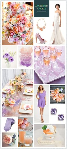 Lavender + Peach wedding inspiration: Colors feel a little springy. Maybe with a brighter pop of tangerine it could look more summer. But same basic idea