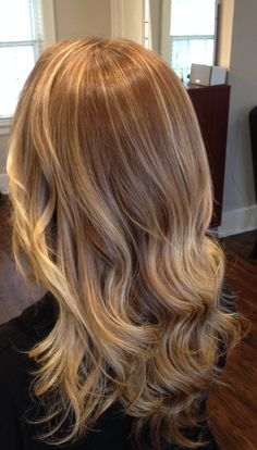 """Blonde waterfall of cascading color and highlights. Balayage and ombre technique on this beautiful head of hair... Golden blonde and the perfect baby blonde mix of highlights and lowlights with a base ombre, Blonde dimension using a golden ash with touch of beige base retouch. Be sure to check out my other photos! :)"""