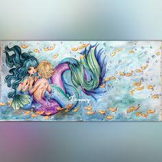 """Sea Love"" Pop Manga Mermaids by Camilla d'Errico ( double page) Manga Coloring Book, Mermaid Coloring Book, Coloring Book Pages, Adult Coloring, Manga Drawing, Manga Art, Manga Mermaid, Camilla, Brown Art"