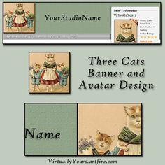 Three Cats Banner Design and Avatar Set | VirtuallyYours - Graphics on ArtFire