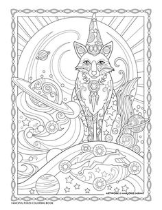 "Creative Haven Fanciful Foxes Coloring Book by Marjorie Sarnat, ""Astro Fox"""