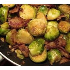 Brussels Sprouts with Onion, Bacon & Garlic Infused Olive Oil Recipe