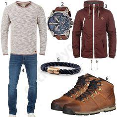 Männeroutfit mit Solid Strickpullover und dunkelroter Übergangsjacke, Diesel Herrenarmbanduhr, Fischer's Fritze Armband, Yazubi Jeans und Timberland Boots.