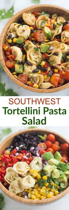 Replace tortellini with black bean pasta for dairy free. Southwest Tortellini Pasta Salad - Tastes Better From Scratch Pasta Recipes, Salad Recipes, Dinner Recipes, Cooking Recipes, Recipe Pasta, Spinach Recipes, Cooking Tips, Dinner Ideas, Chicken Recipes