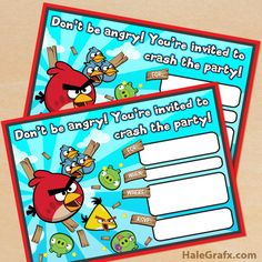 Click here to download FREE Printable Angry Birds Birthday Invitations!