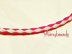 Imitation Leather Bola Cord 3mm - Pink & White. Ideal for making bracelets and necklaces with vivid colors.