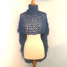 Ponhco Blue Turtle Neck Cowl Boho Cape Shawl Long Capelet Crochet Knit Freeform Crochet Small to 2X Plus Size
