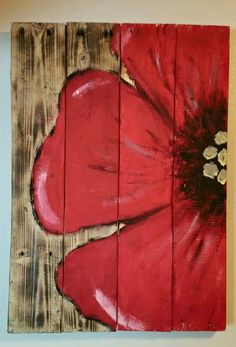 Poppy Flower sign by on Etsy Pallet Painting, Pallet Art, Tole Painting, Painting On Wood, Wood Paintings, Pallet Crafts, Wood Crafts, Diy Canvas, Canvas Art
