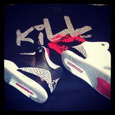 Jordan cement III and Kill Brand t-shirt from @Karmaloop