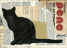 Print Art canvas Ink Drawing Collage Mixed Media Art by rcolo