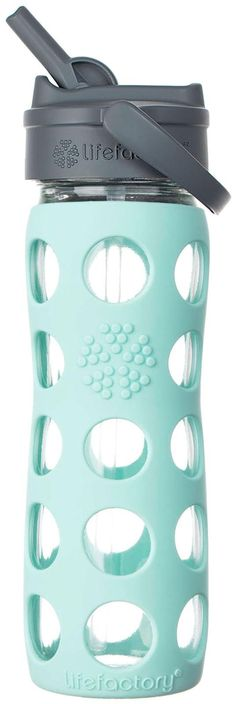 Lifefactory Glass Bottle with Straw Cap - Turquoise - 16 oz