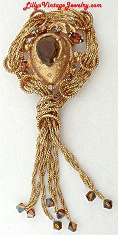 Vintage VENDOME Topaz Rhinestones Golden by LillysVintageJewelry, $98.00