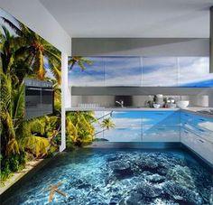 ¿Te imaginas entrar en una habitación y creer que el mar ha llegado hasta tus pies? Ahora es posible con estos peculiares pisos 3D.