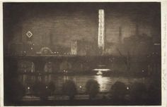 London Night, Whiskey & Tea. By Joseph Pennell. 1909 Mezzotint. Old Print Shop.