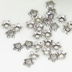 6mm Flower Bead Caps, Antique Silver Bead Caps, Small Bead Caps, Floral Bead…