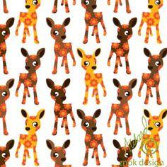 Stof > Znokdesign jersey Bambi's wit €4.75 - TroisPetitsPois - 3PP - www.onlinestof.nl