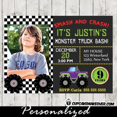Invite friends and family to a monstrous birthday party with this printable Monster Truck Photo Invitation. #cupcakemakeover