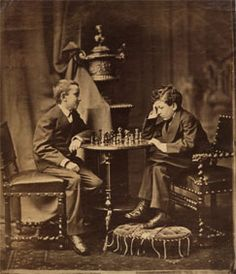Auguste and Louis Lumiere playing chess as young boys