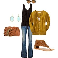 Casual Chic - I have the jeans, earrings, mustard yellow cardi & black tank. Do not have belt or sandals, but I think I could find something.